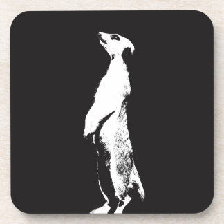 Black & White Meerkat - right - Plastic coasters