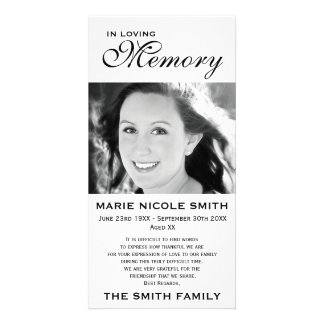 Black & White Memorial Family Acknowledgement Card
