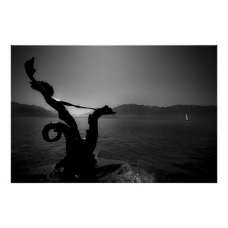 Black & White Mermaid on Lac Leman Poster