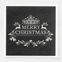 Black & White Merry Christmas Paper Napkins