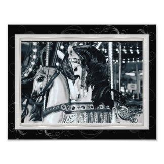 Black White Merry Go Round Carousel Horses Photo