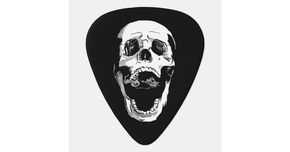 Black white metal screaming skull tattoo guitar pick | Zazzle.com
