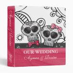 Black White Mexican Swirl Hot Pink Glitter Skulls Binder