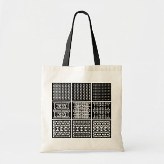 Black  & White Minimal Square/Cubic Art Tote