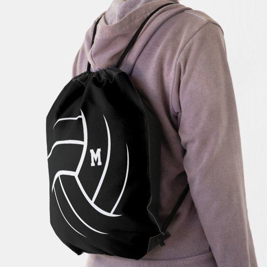 black white minimalism volleyball monogrammed drawstring bag