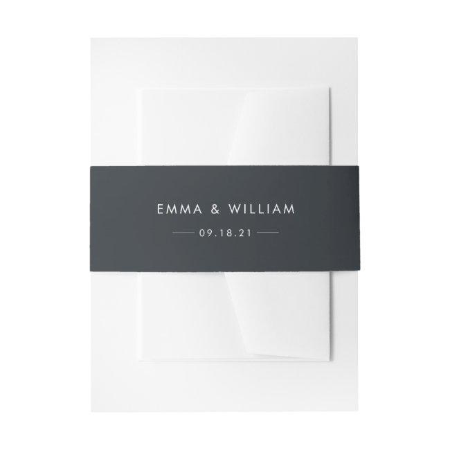 Black & White Minimalist Invitation Belly Band 01