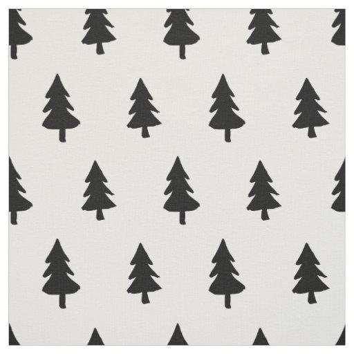 Black White Minimalist Pine Tree Christmas Custom Fabric Zazzle Com
