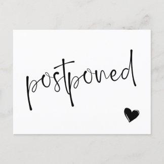 Black & White Minimalist Postponed Wedding Announcement Postcard