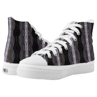 Black White Mod Lace Pattern Design High-Top Sneakers