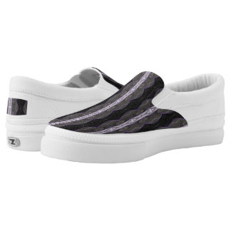 Black White Mod Lace Pattern Design Slip-On Sneakers