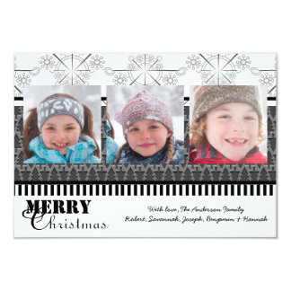 Black & White Modern 3 Photos - 3x5 Christmas Card