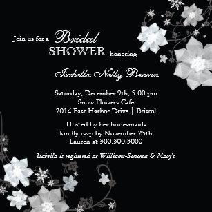 black white modern bling bridal shower invitation