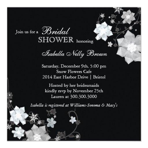 Black white modern bling bridal shower invites 525 for Black and white bling wedding invitations
