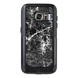 Black white modern chic marble texture patterns OtterBox samsung galaxy s7 case