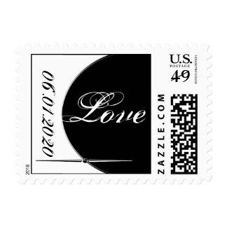 Black White Modern Circle Posh Postage Stamp