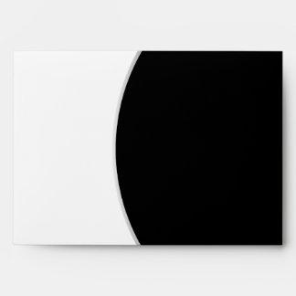 Black White Modern Circle Posh Wedding Envelope