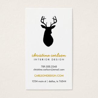 Black & White Modern Deer & Chevron Stripes Business Card