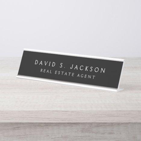 Black White Modern Elegant Professional Classy Desk Name Plate