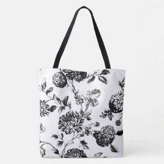 Black & White Modern Floral Toile Tote Bag