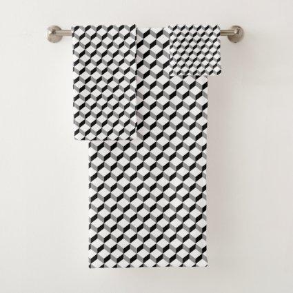 Black White Modern Geometric Bold  Block Pattern Bath Towel Set