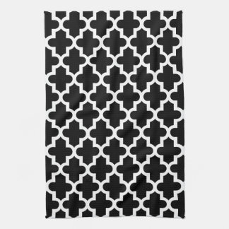 Black & White Modern Moroccan Pattern Hand Towel