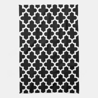 Black & White Modern Moroccan Pattern Towels