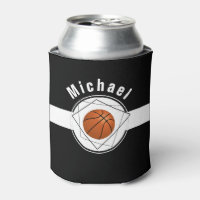 Black & White Modern Personalized Basketball Fan Can Cooler