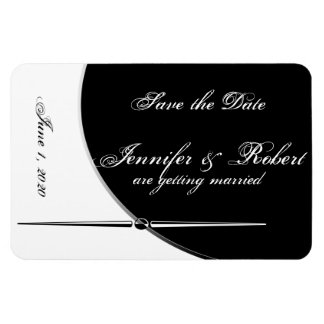 Black White Modern Posh Wedding Save the Date Magnet