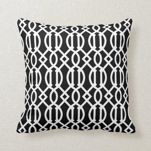 Modern White Pillow : Black & White Modern Trellis Pattern Throw Pillow Zazzle