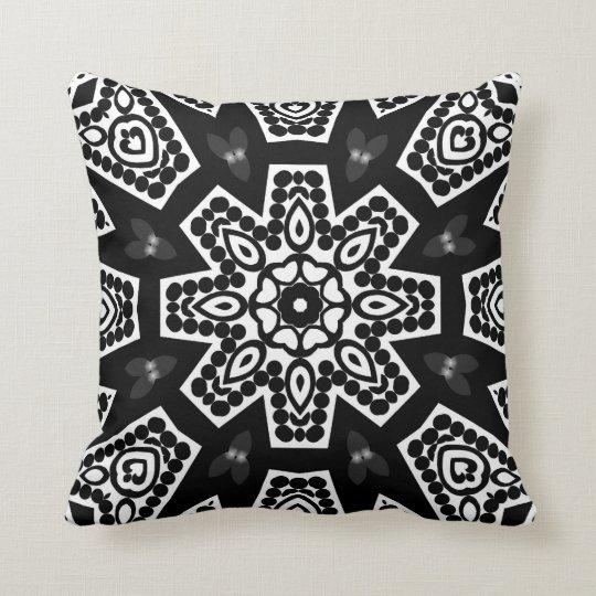 Black & White Modern Tribal Geometry Cushion