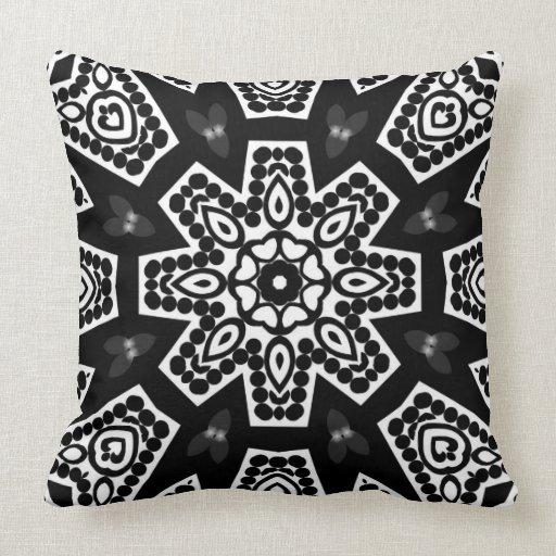 Modern Tribal Pillows : Black & White Modern Tribal Geometry Cushion Pillow Zazzle