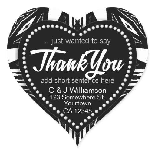 Black White Modern Tribal Thank You Heart Heart Sticker