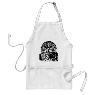 Black & white monochromatic owl with glasses adult apron