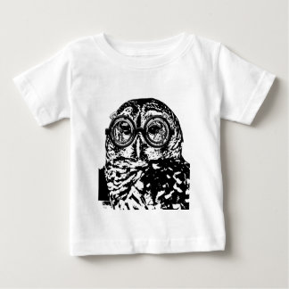 Black & white monochromatic owl with glasses baby T-Shirt