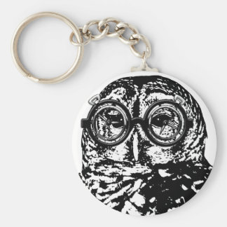 Black & white monochromatic owl with glasses key chains
