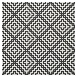 Black White Monochrome Geometric Square Pattern Fabric