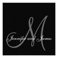 Black White Monogram 2013 Wedding Invitations
