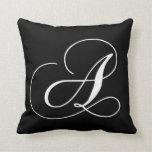 Black White Monogram A Designer Monogrammed Pillow