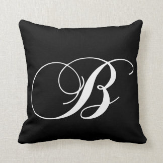 Black White Monogram B Designer Monogrammed Pillow