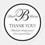 Black White Monogram B Wedding Favor Stickers