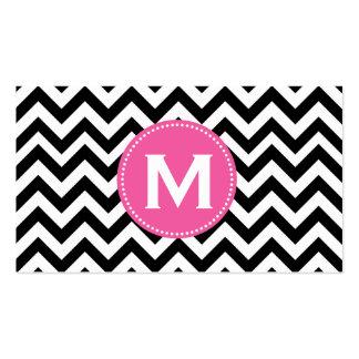 Black White Monogram Chevron Pattern Business Card Template