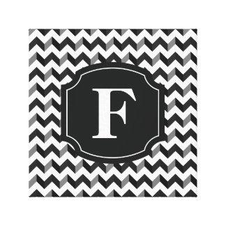 Black White Monogram Chevron Pattern Canvas Print