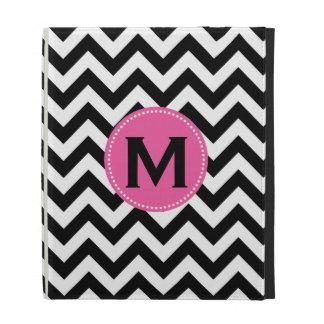 Black White Monogram Chevron Pattern iPad Folio Cases
