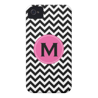 Black White Monogram Chevron Pattern Case-Mate iPhone 4 Case