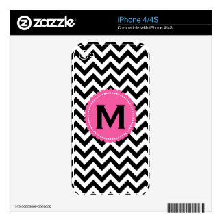 Black White Monogram Chevron Pattern Decals For iPhone 4