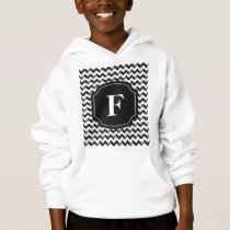 Black White Monogram Chevron Pattern Hoodie