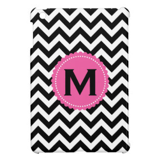 Black White Monogram Chevron Pattern Case For The iPad Mini