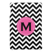 Black White Monogram Chevron Pattern iPad Mini Case