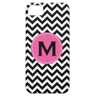 Black White Monogram Chevron Pattern iPhone SE/5/5s Case