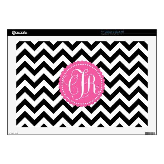 Black White Monogram Chevron Pattern Laptop Decals